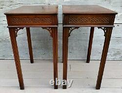 Antique Pair of Kittinger Chinese Chippendale Mahogany Side Tea Tables c. 1890