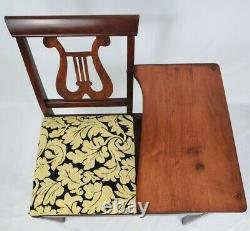 Antique Telephone Table Gossip Chair Hall Bench Harp Lyre Chippendale Vintage