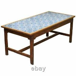 Antique Victorian Tiled Refectory Dining Table Stunning English Country House