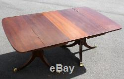 Antique Vintage Mahogany Wood Wooden Drop Leaf Pedestal Claw Foot Dining Table
