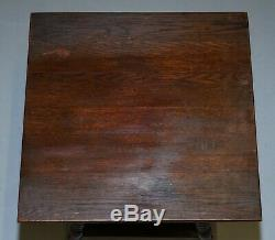 Antique William & Mary Revival Victorian Oak Bobbin Turned Lamp Wine Side Table