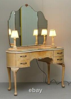 Art Deco Light Walnut Dressing Table With Built In Lights & Tri Folding Mirrors