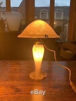 Art Nouveau French Genuine Vincent Cadeux Glass Table Lamp, Art Deco, Vintage