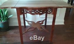 BAKER Historic Charleston Chippendale Mahogany Drop Leaf Table