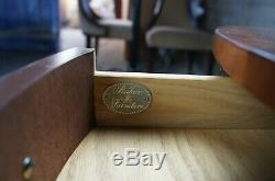 Baker Chippendale Round Inlaid Side End Table Pullout Tray Traditional Mahogany