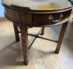 Baker Furniture Chinese Chippendale Carved Mahogany Fretwork Tea, Side Table