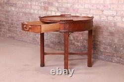 Baker Furniture Chinese Chippendale Carved Mahogany Tea Table