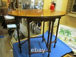 Baker Furniture Co. Small Walnut Burled Drop-leaf Gate-leg Table