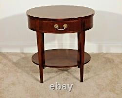 Baker Furniture Company Chippendale Oval Mahogany Inlaid Nite Stand Side Table