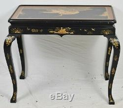 Baker Stately Home Chinoiserie Chippendale Console Table Black Lacquer & Gold