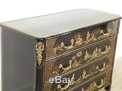 Baker Stately Homes Black Paint Decorated Chinoiserie Commode or Chest w Ormulu