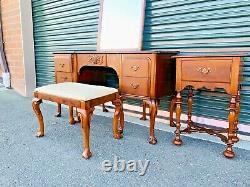 Beautiful Antique 4-Piece Berkey & Gay Furniture Cherry Vanity End Table Set