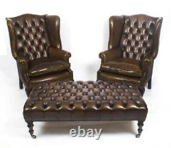 Bespoke Pair Leather Chippendale Wingback Armchairs with stool / coffee table