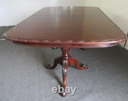 Best Carved Solid Mahogany Chippendale Georgian Double Pedestal Dining Table