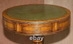 Bevan Funnell Burr Yew Regency Green Leather Drum Side Lamp Wine Table Drawer