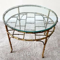 Bronze Faux Bamboo Vintage Palm Beach Regency Chippendale Coffee Table