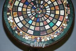 Burmese Hand Carved Elephant Occasional Table Pietra Dura Specimen Marble Top