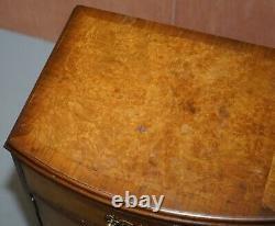 Burr Walnut Queen Anne Bedside Table Cabinet Elegant Carved Cabriolet Legs
