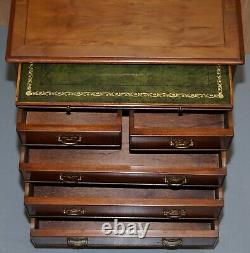 Burr Yew Wood Chest Of Drawers Butlers Leather Serving Tray Large Side Table