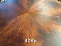 CMC Designs, Beautiful Sunburst Flame mahogany circular Grand dining tables