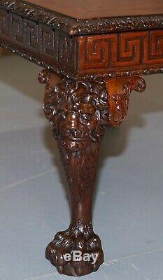 Carved Georgian Irish Lion Head & Hairy Paw Feet Ornate Table Flamed Mahogany