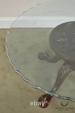 Carved Mahogany Ball & Claw Chippendale Style Glass Top Coffee Table