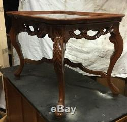Carved Nude Lady Walnut Tray Top Coffee Table