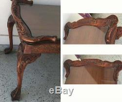 Chinese Chippendale Coffee Table Cocktail 20s-40s Hand Carved Claw Feet and Rail