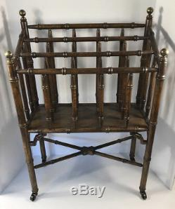 Chinese Chippendale Faux Bamboo Canterbury Magazine Stand Rack