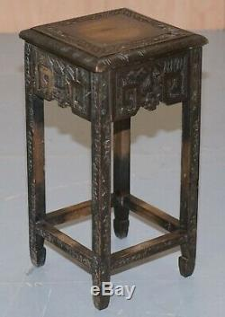 Chinese Export Circa 1900 Nest Of Three Tables Heavily Carved All Over Ebonised