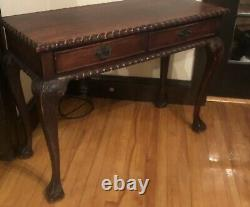 Chippendale Antique Wood Writing Desk 2 Drawer Console Table Beautiful