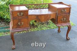Chippendale Ball and Claw Feet Flame Mahogany Vanity Table and Mirror 1454