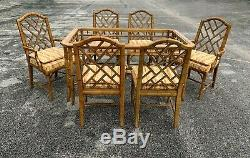 Chippendale Faux Bamboo Dining Set 6 Chairs with Table Hollywood Regency Fretwork
