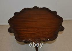 Chippendale Mahogany Pie Crust Tilt Top Table Ball & Claw Feet
