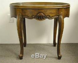 Chippendale Single Drawer Oak Oval Side Table By Baker