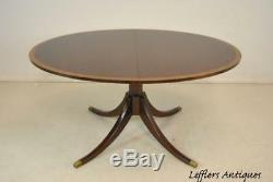 Chippendale Style Banded Mahogany Pedestal Dining Room Table