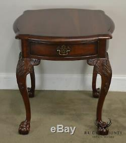 Chippendale Style Cherry Pair Ball & Claw One Drawer Side Tables by Century