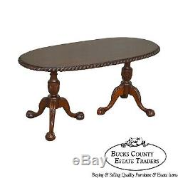 Chippendale Style Custom Mahogany Ball & Claw Rope Edge Oval Coffee Table