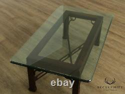 Chippendale Style Mahogany, Glass Top Coffee Table