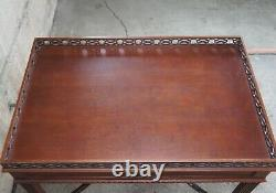 Chippendale Style Mahogany Side Accent Tea or Silver Table Pierced Gallery Top