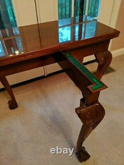 Chippendale-style Solid Mahogany Game Card Table Ball & Claw, Shell, Drawer