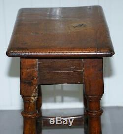 Circa 1800 Burr Oak Joint Stool Lovely Heavily Worn Timber Well Worn Side Table