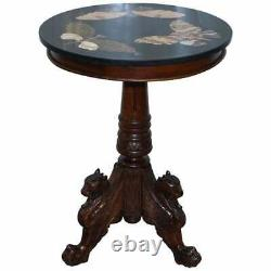 Circa 1870 Pietra Dura Marble & Mahogany Centre Tripod Table Butterfly's Griffin