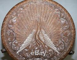Circa 1880 Burmese Hand Carved Peacock Side End Lamp Wine Occasional Wood Table