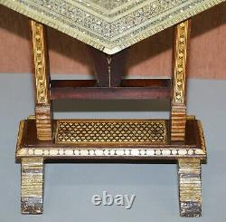 Circa 1880 Moroccan Liberty's London Moorish Mother Of Pearl Folding Tea Table