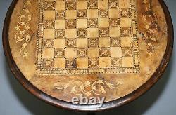 Circa 1880 Walnut & Mahogany Marquetry Inlaid Chess Games Table Tripod Base