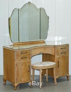 Circa 1920's Walnut Kidney Dressing Table & Stool Set With Tri-folding Mirror