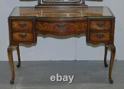 Circa 1930's Burr & Burl Walnut Dressing Table With Trifold Mirrors & Glass Top