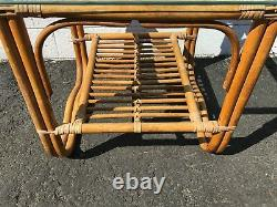 Coffee Table Cocktail Rattan Bohemian Boho Chic Accent Side Stand Chippendale