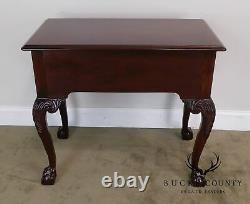 Councill Craftsman Chippendale Banded Mahogany Claw Foot Side or Console Table
